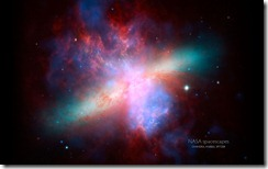 Image of M82 or the Cigar Galaxy from NASA's Spitzer and Hubble Space Telescopes, and NASA's Chandra X-ray Observatory
