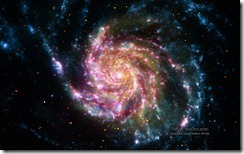 Image of the galaxy M101 from NASA's Spitzer and Hubble Space Telescopes, NASA's Chandra X-ray Observatory, and NASA's Galaxy Evolution Explorer