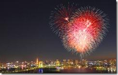 花火、東京、お台場 (Fireworks display over Odaiba, Tokyo, Japan)