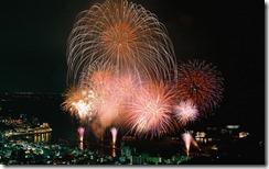Fireworks Exploding over Harbor of Shizuoka