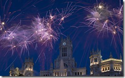 Fireworks above Cibeles Fountain on New Year's Eve, Madrid, Spain