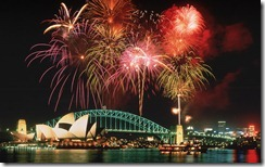 Fireworks above the Opera House and Harbour Bridge, Sydney, Australia