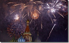 New Year celebrations at St. Basil's Cathedral, Moscow, Russia