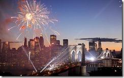 Fireworks over the Brooklyn Bridge, New York, USA