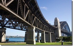 Bradfield Park, on Sydney's North Shore, where the Harbour Bridge crosses the harbour in Sydney, New South Wales
