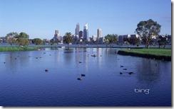 Perth city skyline, across the Swan river in Western Australia
