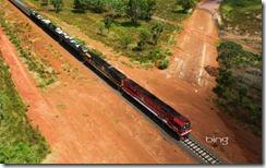 Aerial of the Ghan Train, Australia