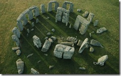 An aerial view of Stonehenge, Wiltshire, England-