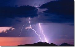 Thunderstorm and lightning, at dusk