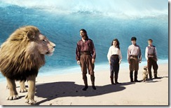 Aslan, Prince Caspian, and the children