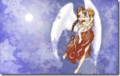 Snow angel and child