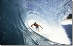 Surfing in the tube, Oahu, Hawaii