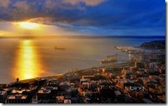 Sunset of Elliott Bay taken from the Space Needle, Seattle, Washington