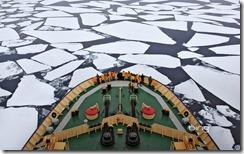 The Icebreaker I/B Kapitan Khlebnikov moving through the pack ice in Antarctica