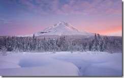Winter sunrise over Mount Hood, Oregon, United States