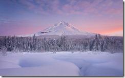 Winter sunrise over Mount Hood, Oregon, United States