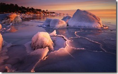 Frozen cove on Botnic Sea, Langvind, Sweden