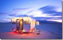 1966 Kit Companion decorated with colored holiday lights, Nevada, USA
