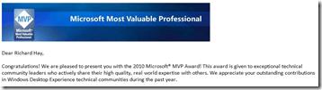 Microsoft MVP Award for 2010