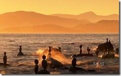 Balanced rocks in English Bay in Vancouver, British Columbia, Canada