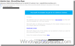 Phishing Attempt Using Microsoft's Recent Skype Purchase