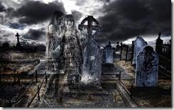 Ghost children in graveyard