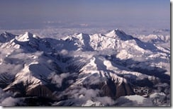 The twin peaks of Mount Ushba in the Greater Caucasus mountain range