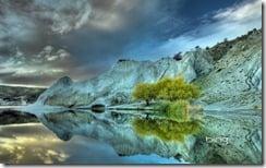 Blue Lake reflection, autumn dawn, St Bathan's, Central Otago