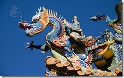 Sculpture on temple rooftop,Taiwan