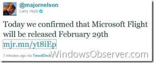 microsoftflightconfirmedtweetfrommajornelson