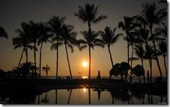 Poolside sunset, Hawaii, Hawaii, U.S.