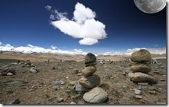Moon over Tibet plateau at 5,500 meters
