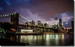 Brooklyn Bridge facing Manhattan, New York, U.S.