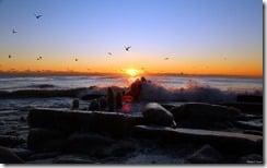 Sunrise over Lake Michigan, U.S.