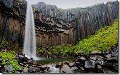 Svartifoss waterfall flanked by hexagonal basalt columns in Vatnajökull National Park, Iceland