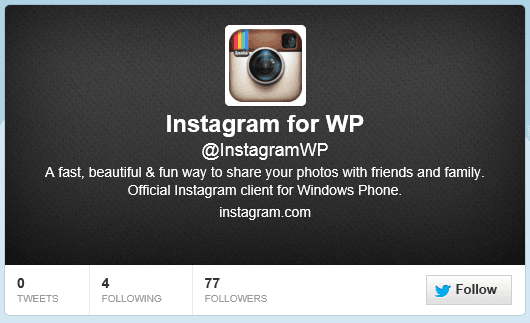 Updated: Instagram for Windows Phone Client Now Has an Official Twitter Account