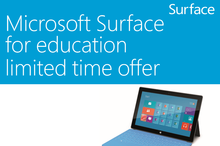 Microsoft Offers Surface RT for Students Around the World at $199 for 32GB Model