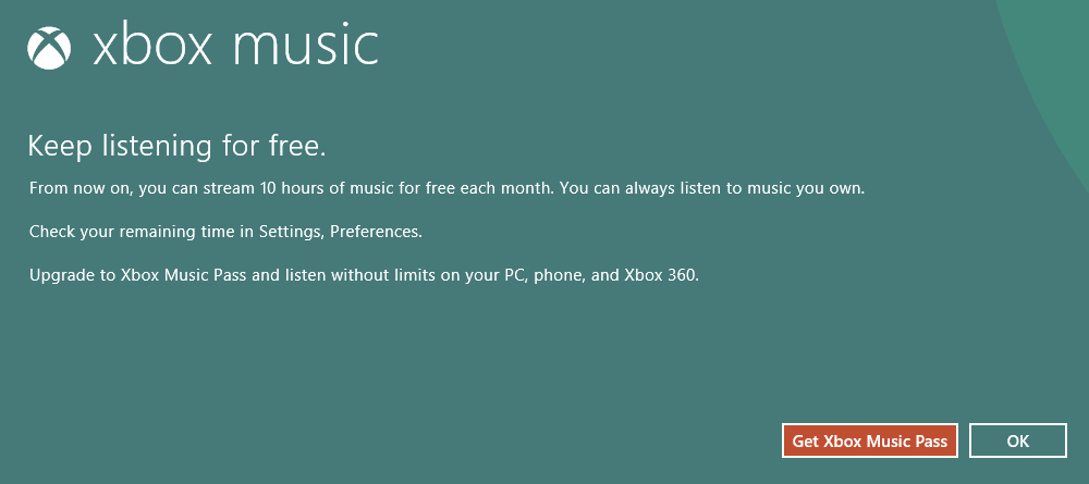 Xbox Music Unlimited Streaming Ending Notification