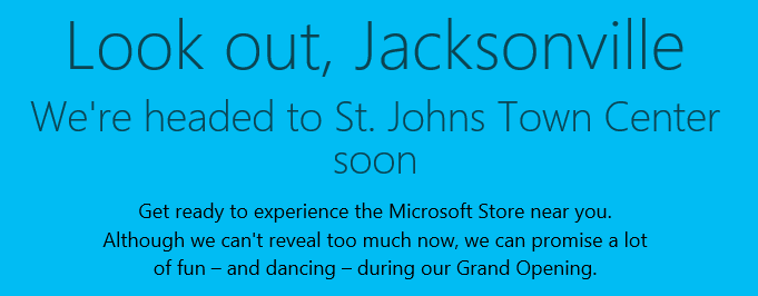 Microsoft Officially Confirms New Retail Store Coming to Jacksonville, Florida