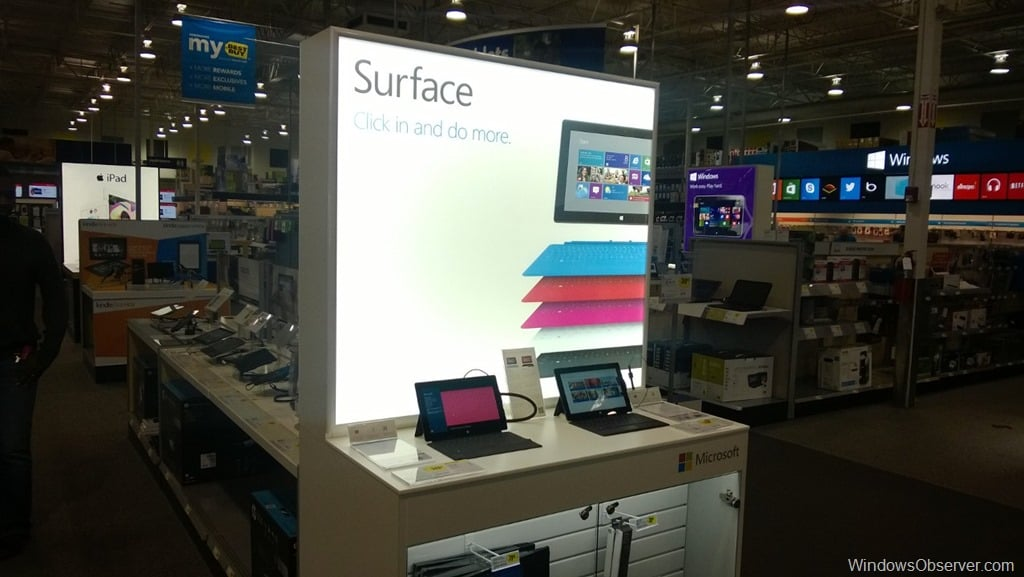 The retail experience of checking out Surface 2