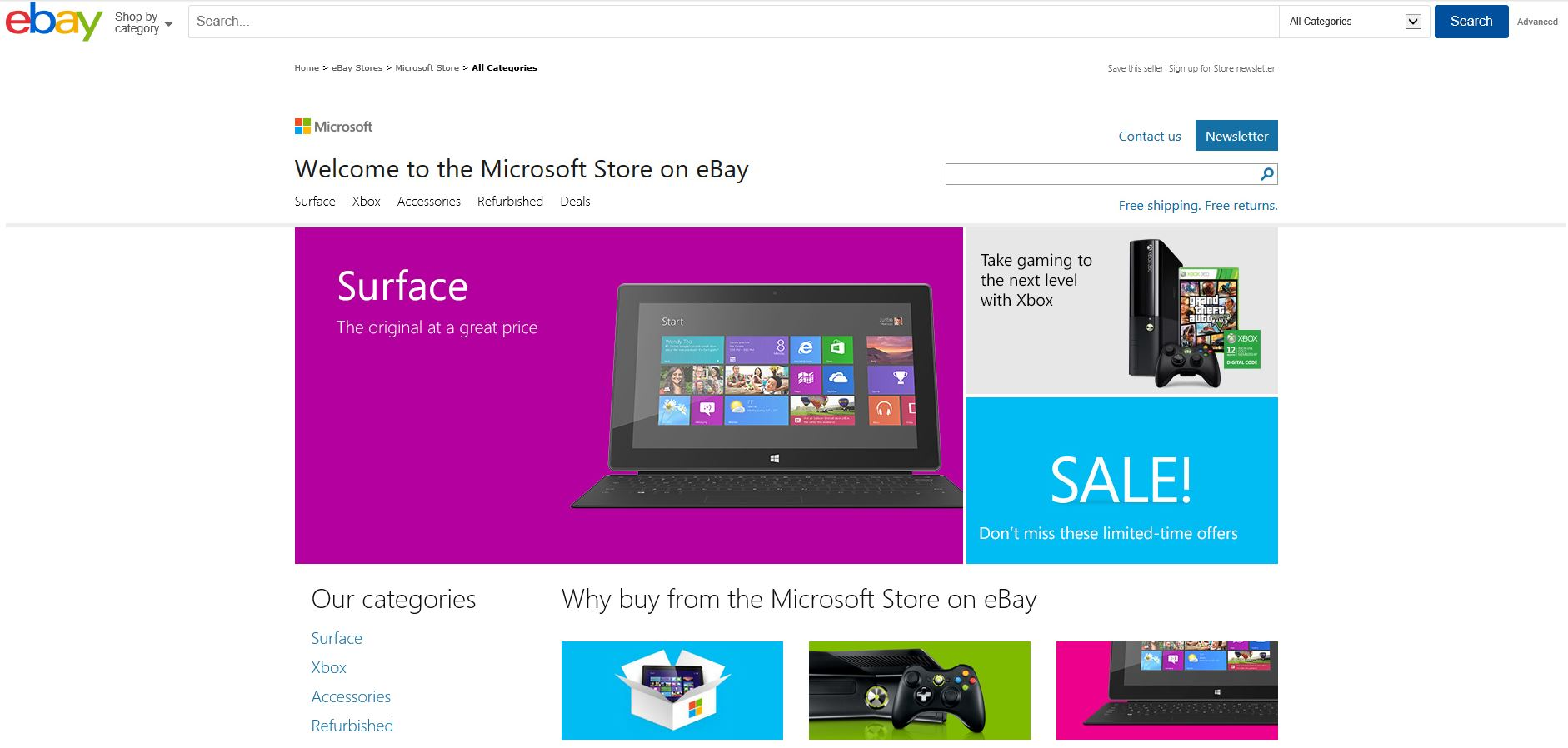 Microsoft opens a dedicated store front on eBay