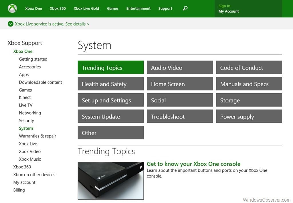 Extensive Xbox One Support Site is now live
