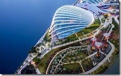 Aerial view of Gardens by the Bay and the Super Trees, Singapore City, Singapore
