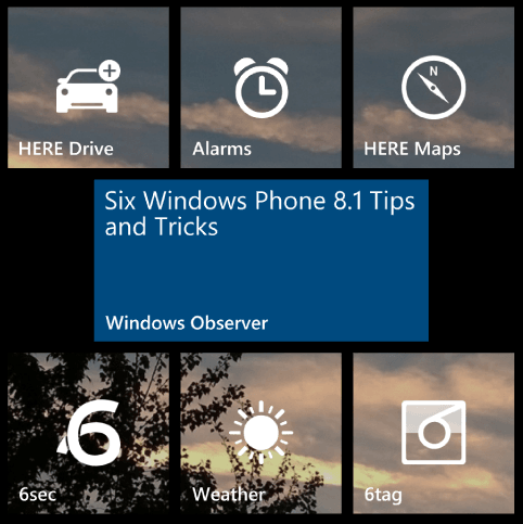 Windows Phone 8.1 supports pinning website tiles to Start Screen