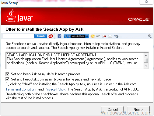 Java gets sneaky with Ask Toolbar piggyback install