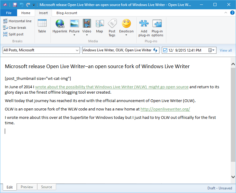 Open Live Writer released as an open source fork of Windows Live Writer