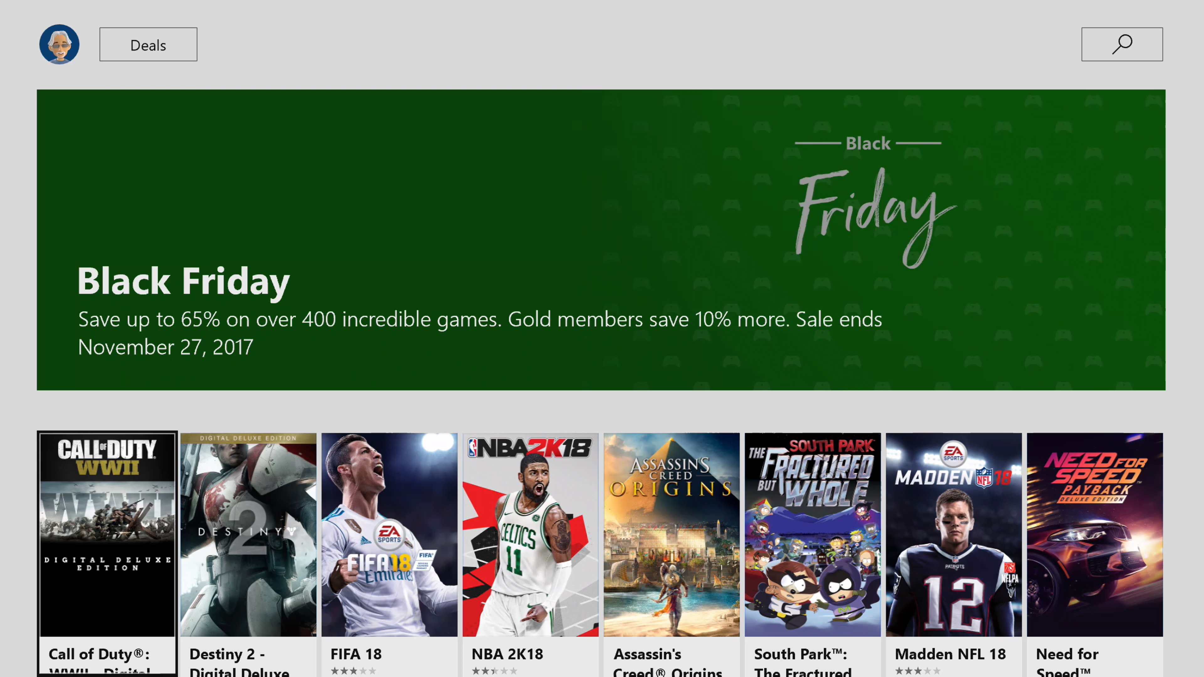 Black Friday Digital Gaming Deals Now Available for XBL Gold Members