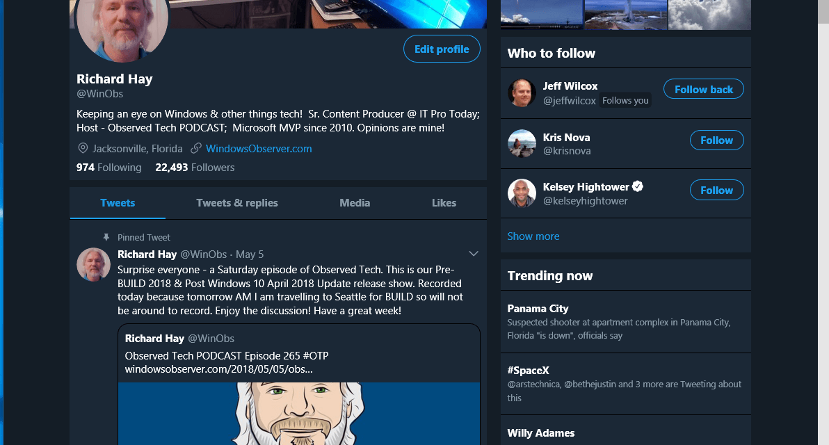 Twitter PWA on Windows 10 Updated with Night Mode