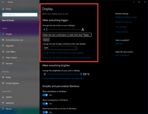 Ease of Access Settings in Windows 10 - Text Size