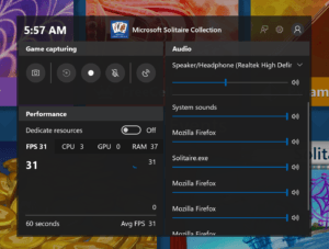Windows 10 Game Bar in Redstone 5